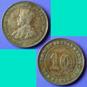 Straits-Settlements-10-Cents-1918-km-29a-Silver-0-0348-oz
