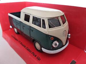 Volkswagen-T1-pick-up-double-cabine-vert-11-5cm-neuf-metal