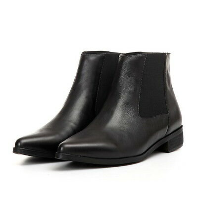 Womens Elegant Pointy Toe Leather Ankle Boots Fashion Motorcycle Shoes Chelsea