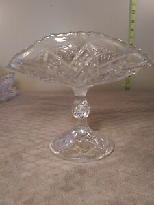 EAPG-Bryce-Higbee-Alpha-Folded-Banana-Stand-Vintage-Antique-Pressed-Glass