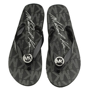 c939ebcbdbe NEW Michael Kors Women s Black Jet Set Rubber Flip Flop Thong ...