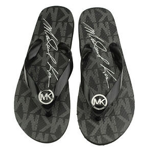 7dfc67e03f6d NEW Michael Kors Women s Black Jet Set Rubber Flip Flop Thong ...