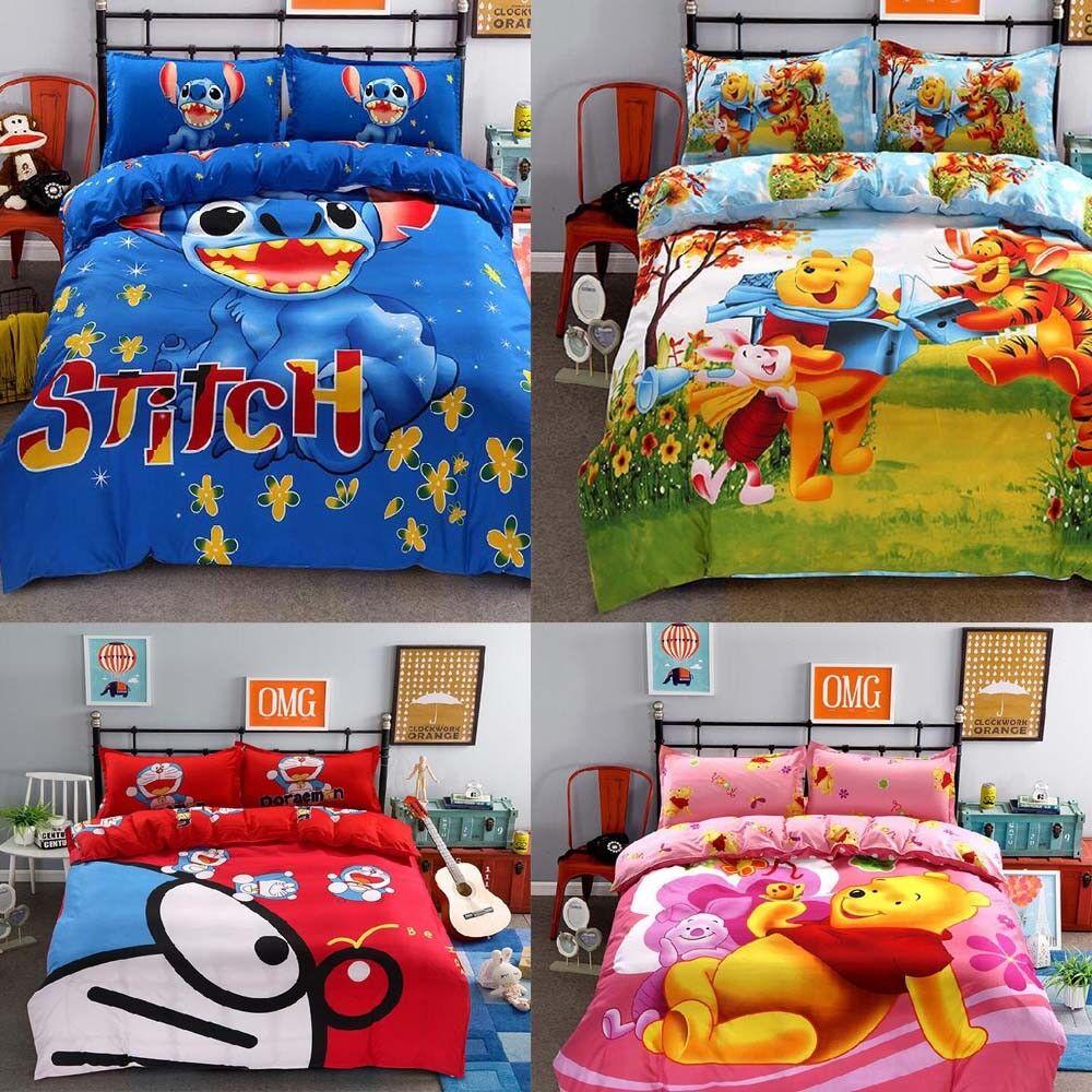 Hot Bedding Set cartoon kids Stitch bedclothes covers 4 pcs full Queen Bed Sheet