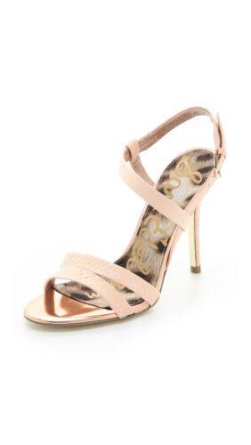 Details about  /Sam Edelman Abbott Heel Peach Melba Reptile Leather Sandal Strappy shoes buckle