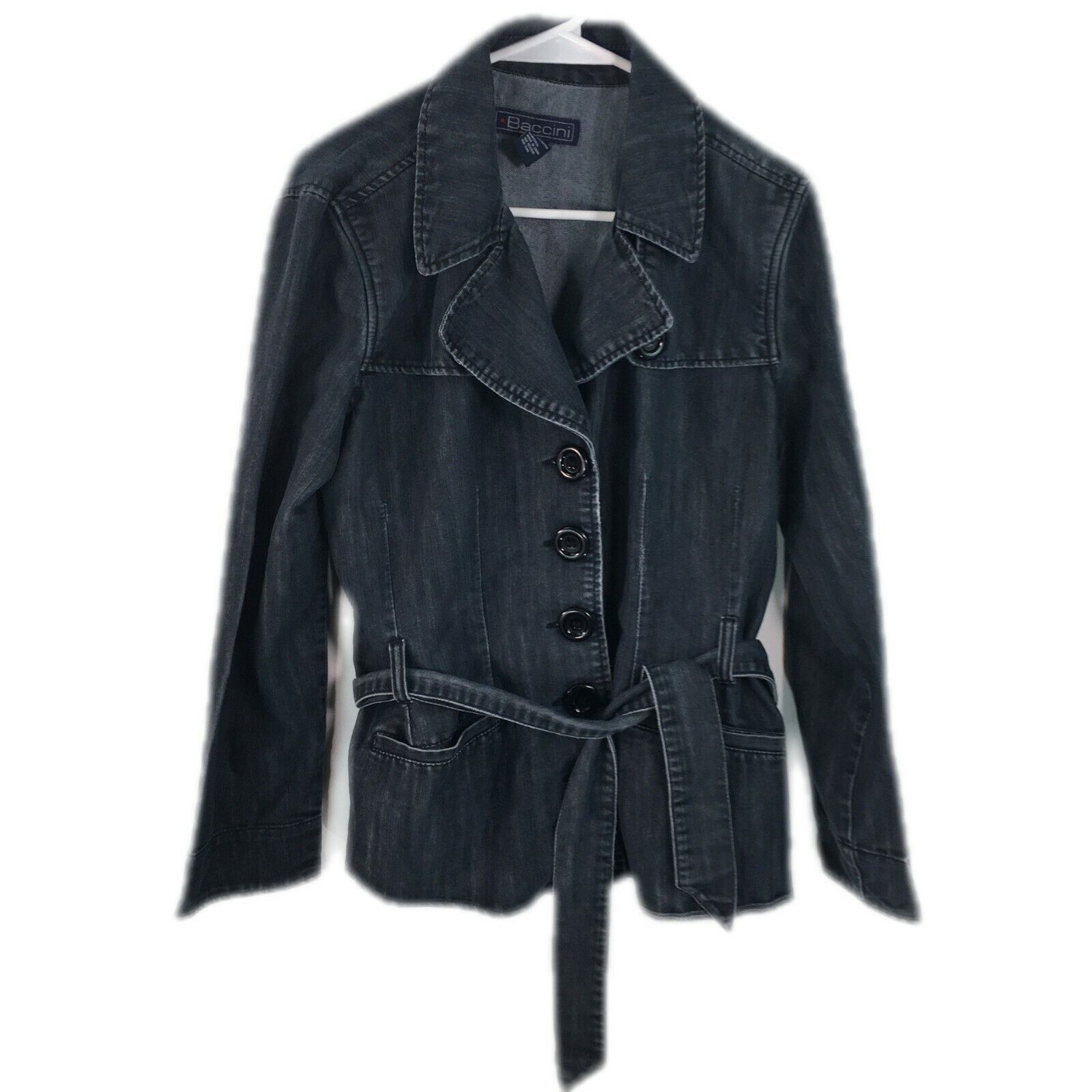 VTG Baccini Womens Button Front Long Sleeves Black Denim Belted Jacket Size XL