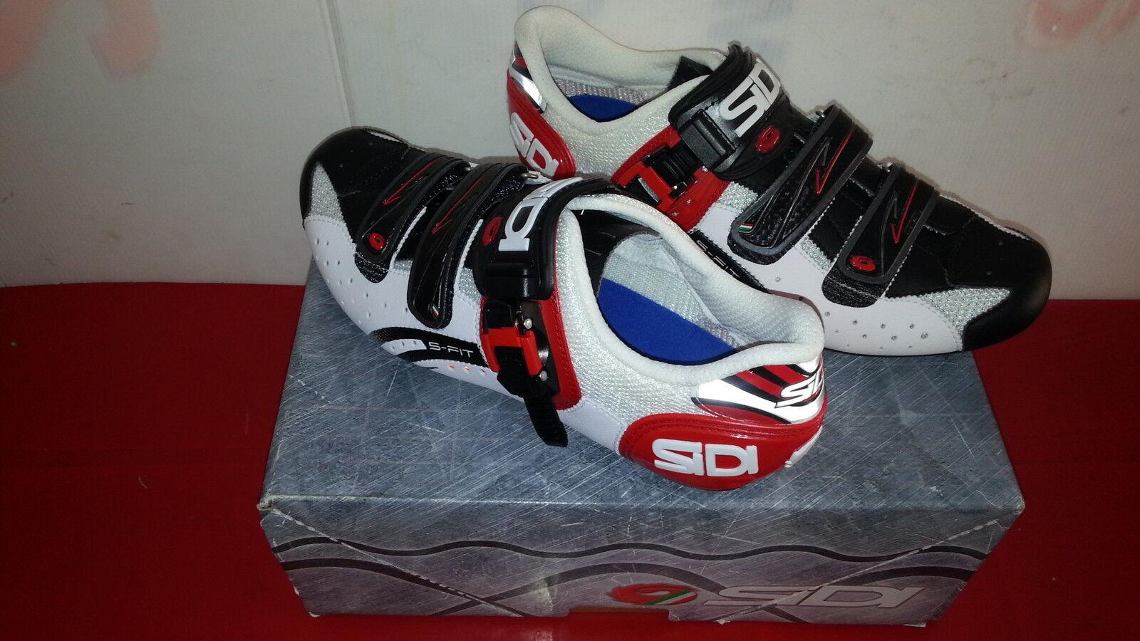 Schuhe SIDI X X SIDI BICI DA CORSA GENIUS 5 FIT CARBON TG 46 BIANCO NERO ROSSO 0fa3ed