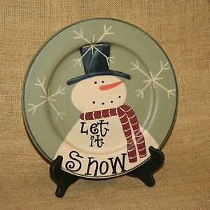 Let-It-Snow-Snowman-Decorative-Plate-On-Stand-Hearthside-Collection