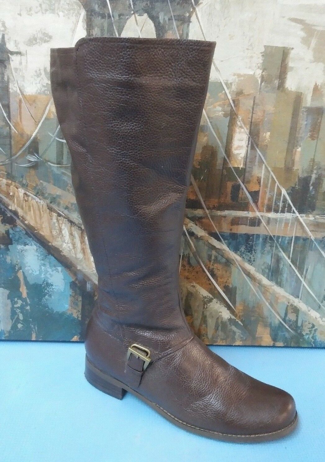 FITZWELL women boot riding tall brown leather Sz. 8.5 M