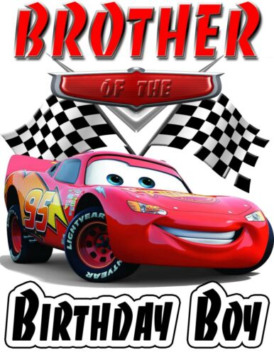 Disney Cars Birthday Shirt Lightning McQueen ADD NAME /& AGE FOR FAMILY PARTY