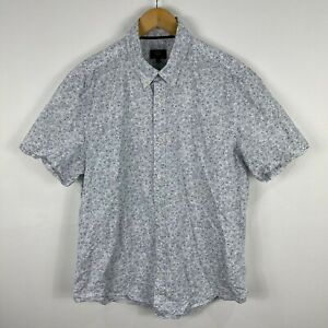 Sportscraft-Mens-Button-Up-Shirt-Large-Blue-White-Floral-Short-Sleeve-Collared