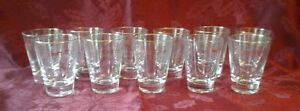 LOT-OF-11-GOLD-RIMMED-5-OUNCE-BAR-GLASSES-VERY-NICE