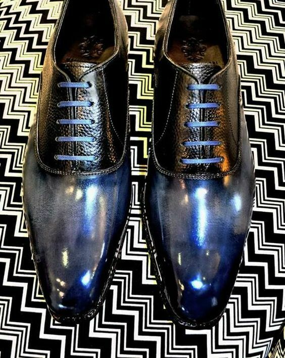 Men's handmade bluee leather lace up shoes designer leather shoes for men