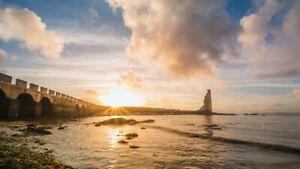 Cuadro. Fotografía de paisaje. Últimos rayos del día.