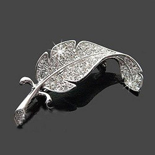 Women's Modern Leaf Silver Tone Rhinestone Crystal Wedding Gift Brooch Pin