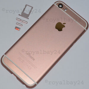iPhone-5s-in-iphone-6s-look-Aluminium-Mittel-Rahmen-Rosegold-Gehause-Tasten-NEU