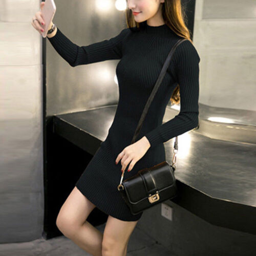 Women Fall Winter Slim Sweater Dress Bodycon Turtleneck Knitted Jumper Knitwear~