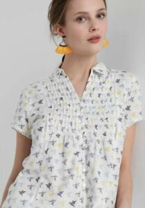 WHITE-STUFF-Ami-Bird-shirt-top-blouse-blue-yellow-100-cotton-RRP-37-50-UK-6-18