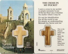 NEW FULL COLOR LAMINATED HOLY PRAYER CARD CROSS IN MY POCKET OLIVE WOOD CROSS