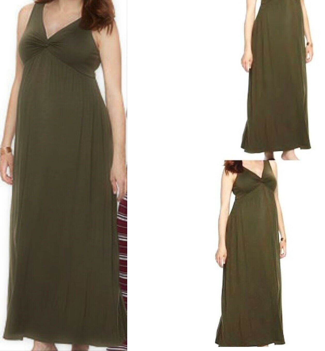 Long Flowing Maxi Maternity Dress Gown Stretchy Comfort Gorgeous Olive By A Glow For Sale Online