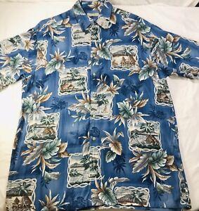 Hollis River Hawaii Cruise Beach Cabana Urlaub Blumen Rayon Shirt SZ LT Tall