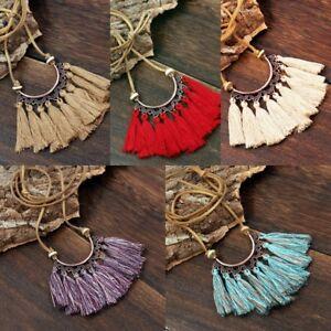 Fashion-Women-Jewelry-Pendant-Boho-Tassel-Choker-Chunky-Statement-Bib-Necklace