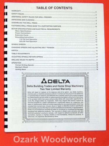 "DELTA 14-040 16.5/"" Drill Press Operator/'s /& Parts Manual 0202 Rockwell 17-900"