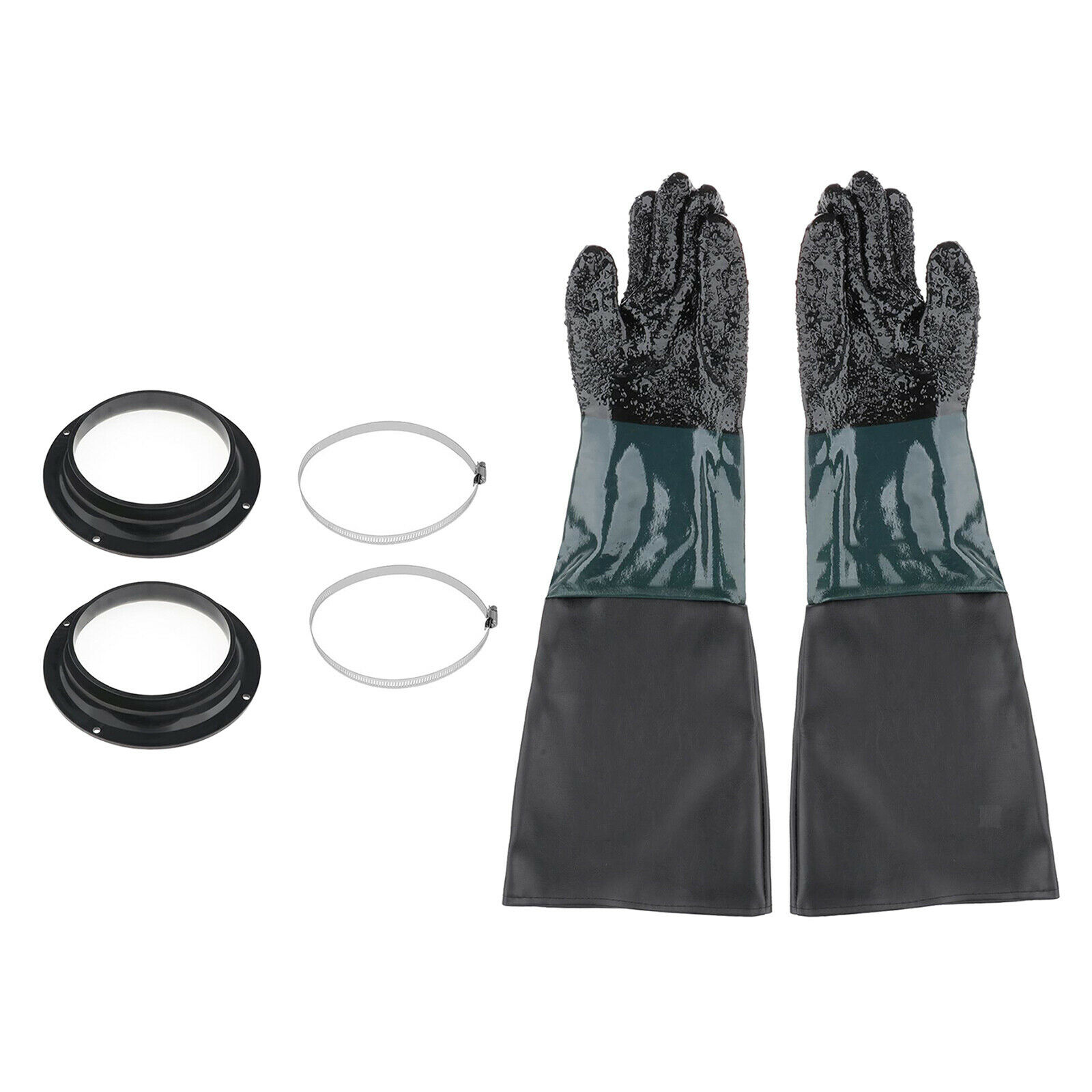 1 Pair Heavy Duty Sandblast Gloves + Holders + Clamp for Sand Blast Cabinet