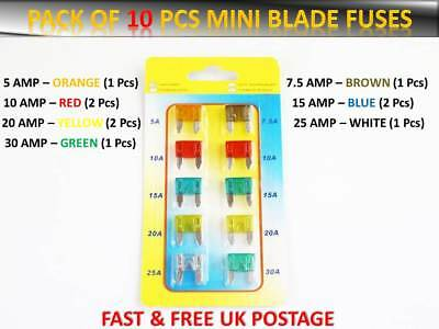 20PCS DACIA CARS FUSES SET ASSORTMENT MEDIUM BLADE 5 7.5 10 15 20 25 30 AMP