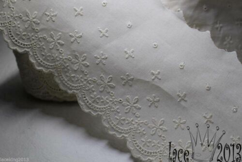 """11.5cm 1Yds Broderie Anglaise Eyelet cotton lace trim 4.3/"""" YH1162 laceking"""
