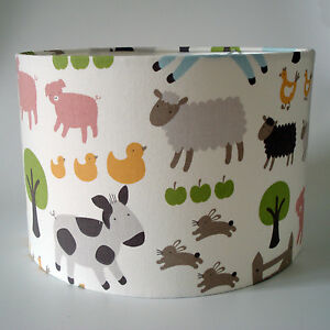 Childrens kids farm animals light shade john lewis fabric ceiling image is loading children 039 s kids farm animals light shade aloadofball Gallery