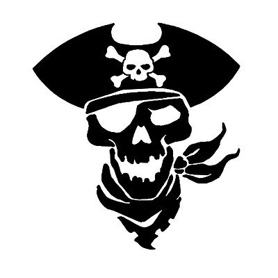 Pirate Skeleton Car or Truck Window Laptop Decal Sticker White 3X3.4