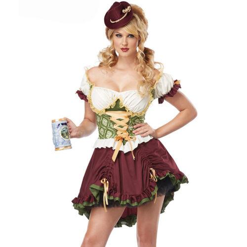 Women Ladies Oktoberfest Plaid Dress Fancy Costume Tummy Control Outfit Costume