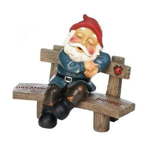 Details About New Dreaming Wishing Gnome Garden Bench Lawn Outdoor Decor Yard Statue Ladybug