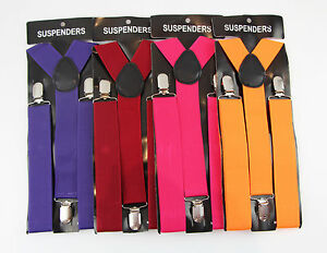 MENS-WIDE-SUSPENDERS-BRACES-ELASTIC-STRONG-ADJUSTABLE-WEDDING-PARTY-WOMENS-85CMS