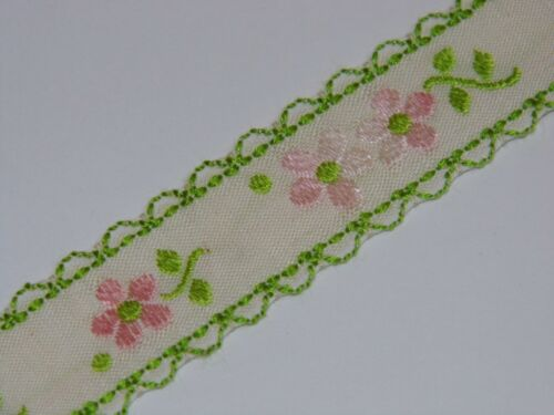 green trim with pink flowers vintage jacquard woven cotton 20mm R042