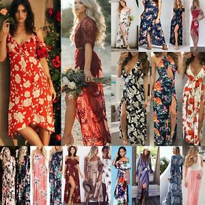 Women-Summer-Boho-Long-Evening-Maxi-Prom-Party-Beach-Floral-Dress-Sundress-LOT