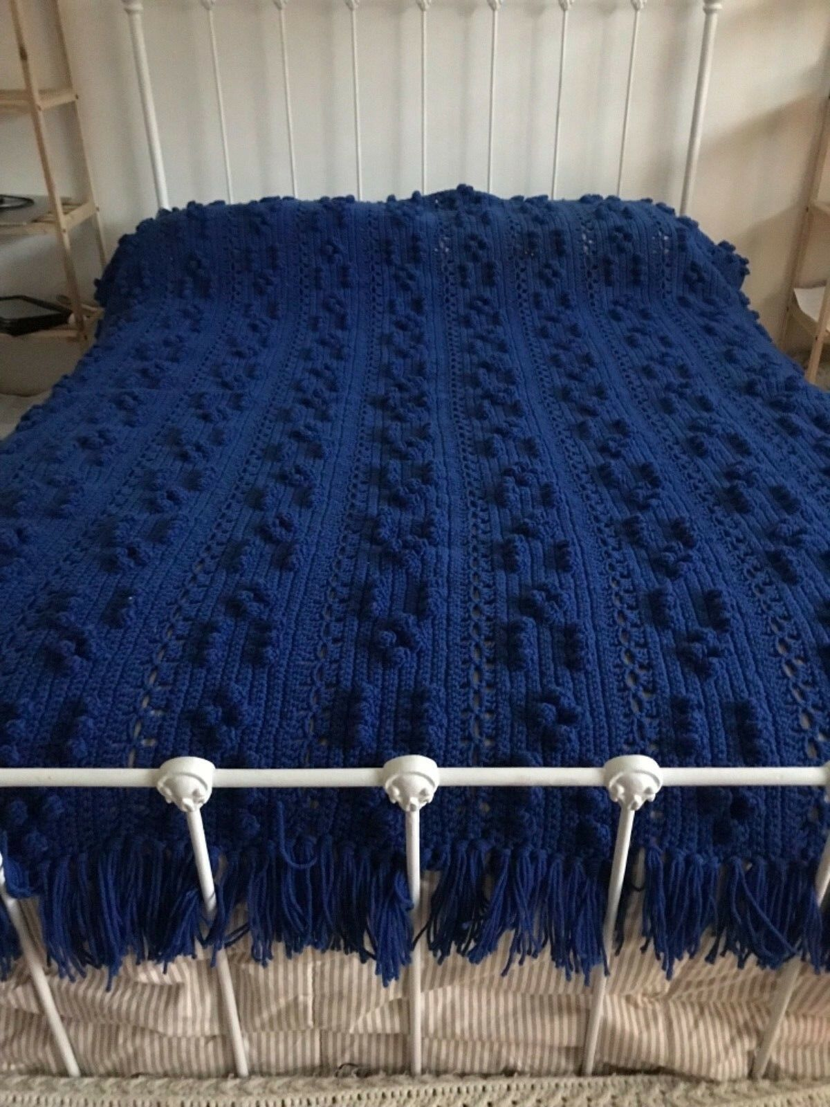 """Full Size bluee Hand Knitted Afghan popcorn stitch 76"""" L X 53"""" W (New)"""