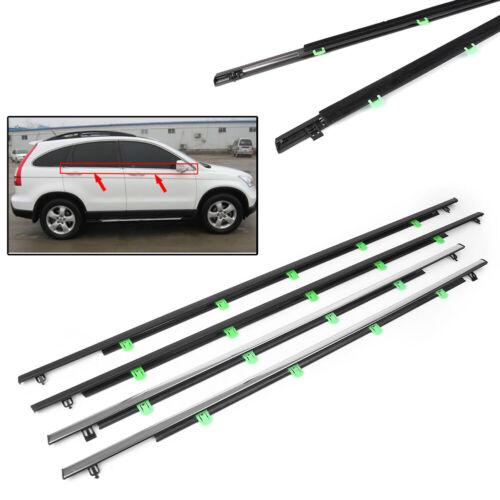 4x  Chrome Window Moulding Trim Weatherstrips Seal Belt for Honda CR-V 07-11