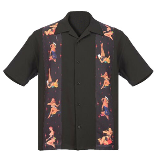 STEADY CLOTHING Multi Pin-Up Panel Button Up Bowling Shirt Black S-3XL NEW