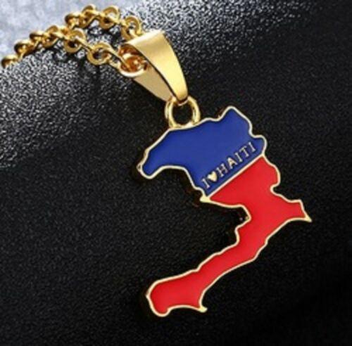 Mapa de bandera de Haití Collar Colgante /& 45cm cadena haitiano Hayti vendedor del Reino Unido