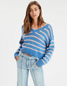 New-Women-s-American-Eagle-Striped-V-Neck-PulloverBlue-Sweater-Sizes-XXL