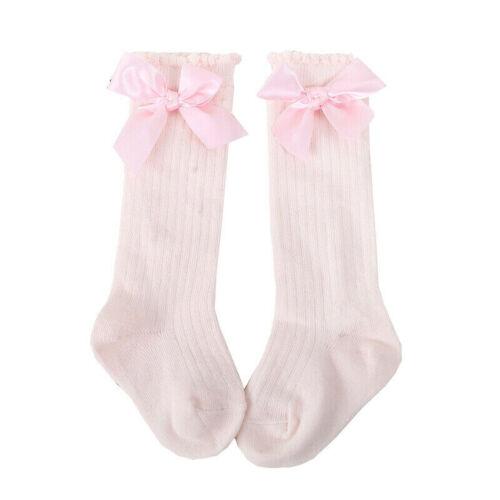 0-4 Years Kids Girls Socks Baby Toddler Knee High Long Bow Cotton Stockings Size