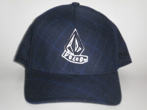 ac3b4979696 Volcom ALT STACKED New Era 39Thirty Hat Navy Plaid S M ( 30) Cap ...