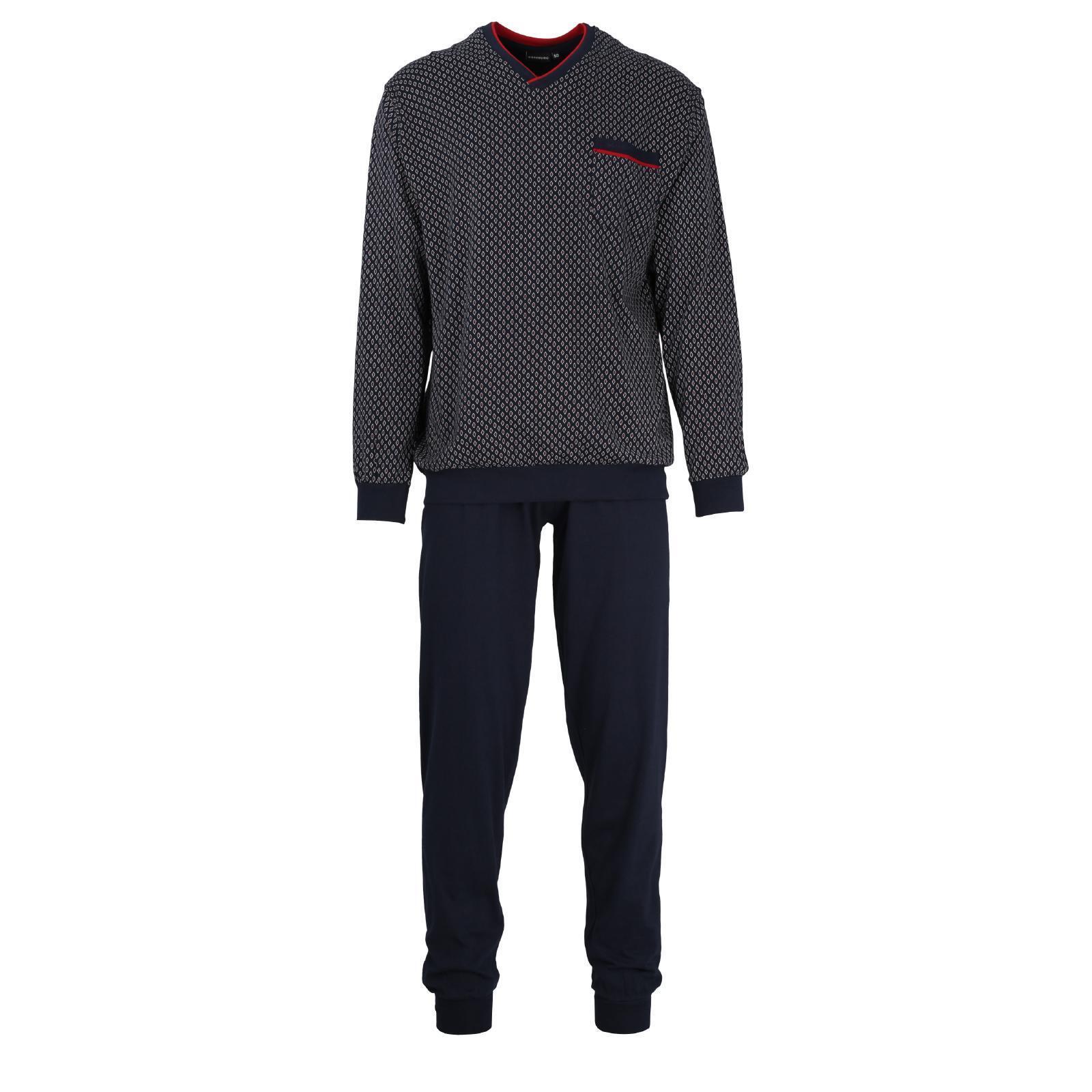 Götzburg Pyjama Schlafanzug lang  Gr. 48  navy  Bündchen Baumwolle V-Ausschnitt