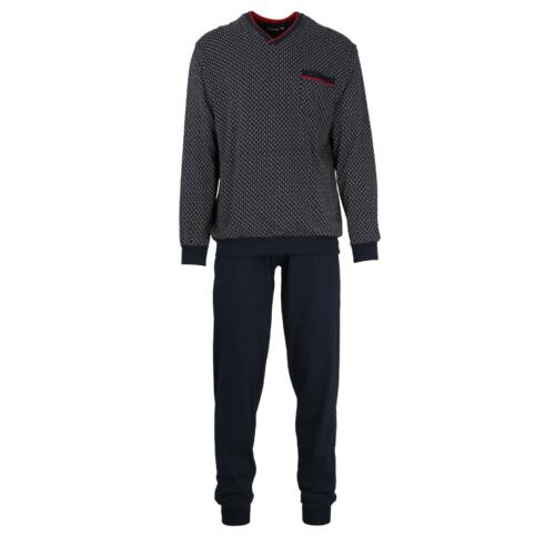 Götzburg Pyjama Schlafanzug lang  Gr 50  navy  Bündchen Baumwolle V-Ausschnitt