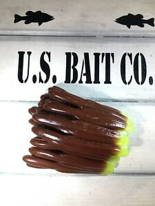 """Reaper Chocolate Chartreuse Tail 3/"""" Finesse  Bait Lot Of 50 Bass Fishing"""