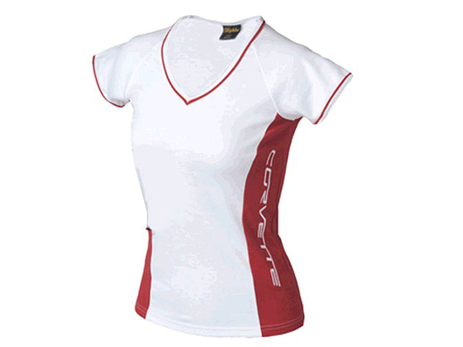 Corvette Embroidered Juniors T-Shirt White and Red Contrast