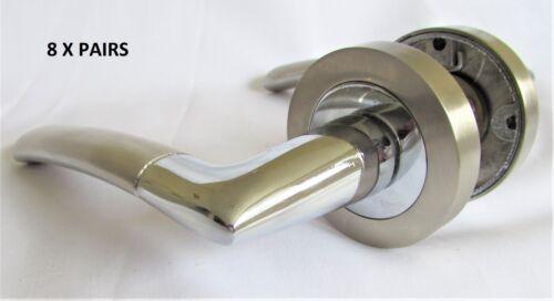 MODERN FRESH Satin Chrome Duo Indiana Lever Latch Door Handles on Round Rose D3