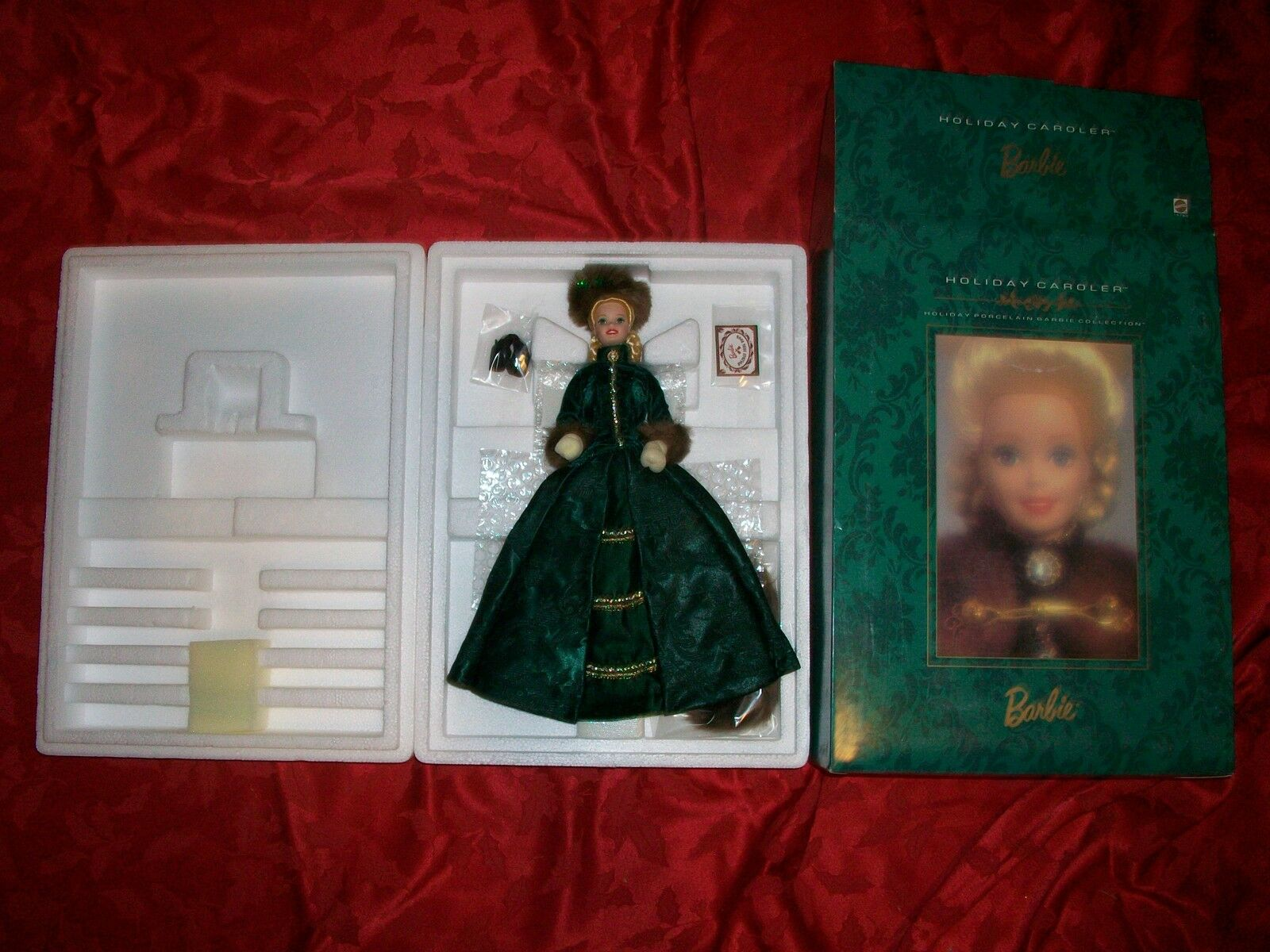 1996 Holiday Caroler Barbie Porcelain 2nd in Series W Shipper
