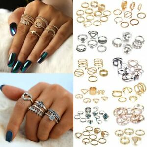Womens-Boho-Stack-Plain-Above-Knuckle-Ring-Midi-Finger-Rings-Set-Jewellery-Gifts